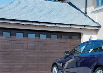 brown double  sectional garage door